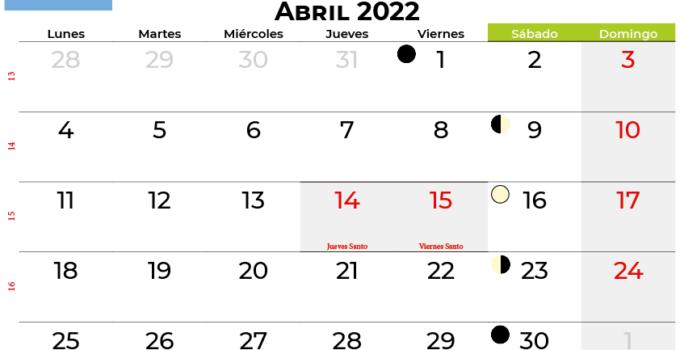 calendario abril 2022 argentina
