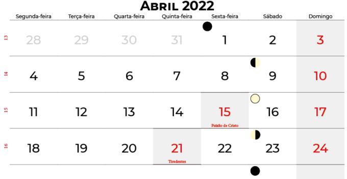 calendario abril 2022 brasil