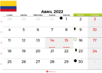 calendario abril 2022 colombia