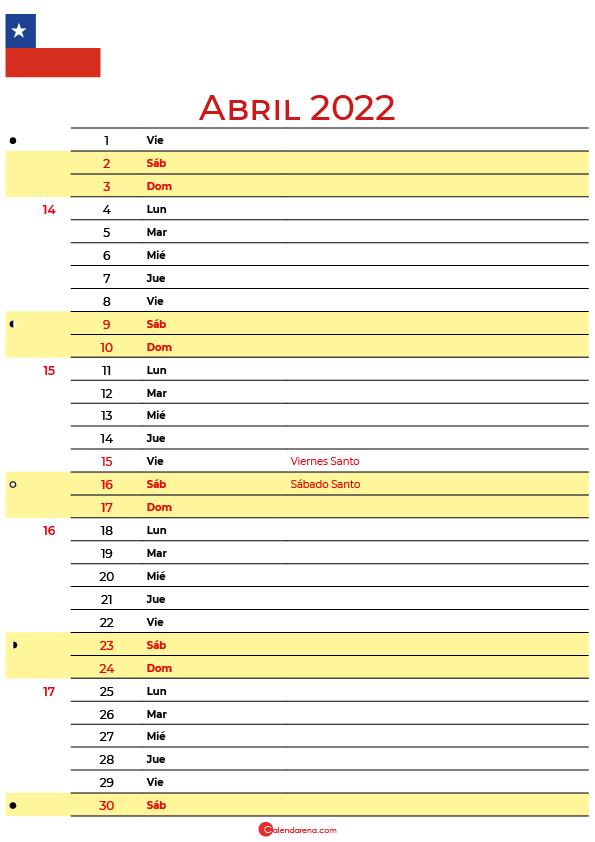 calendario abril 2022 para imprimir Chile
