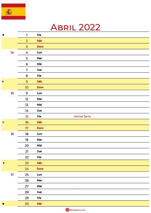 calendario abril 2022 para imprimir España