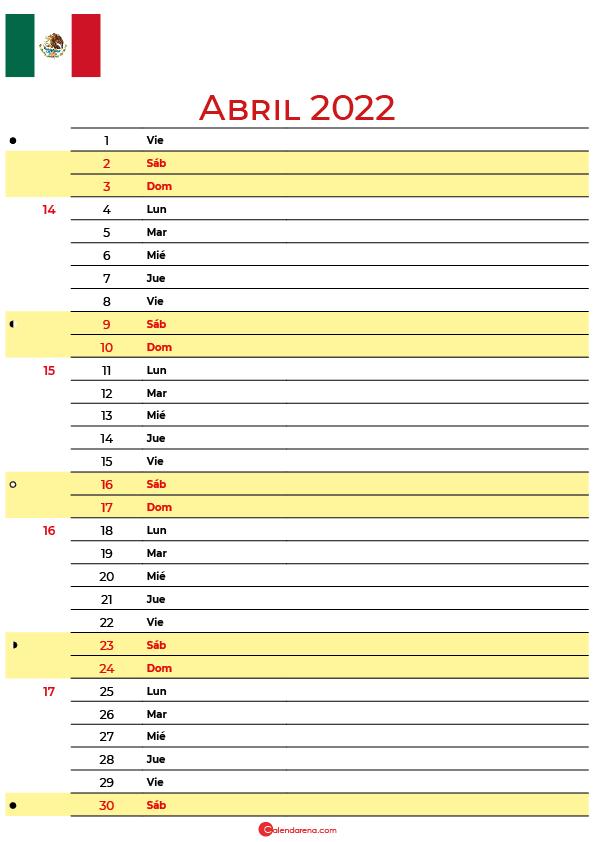 calendario abril 2022 para imprimir México