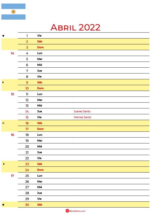 calendario abril 2022 para imprimir argentina