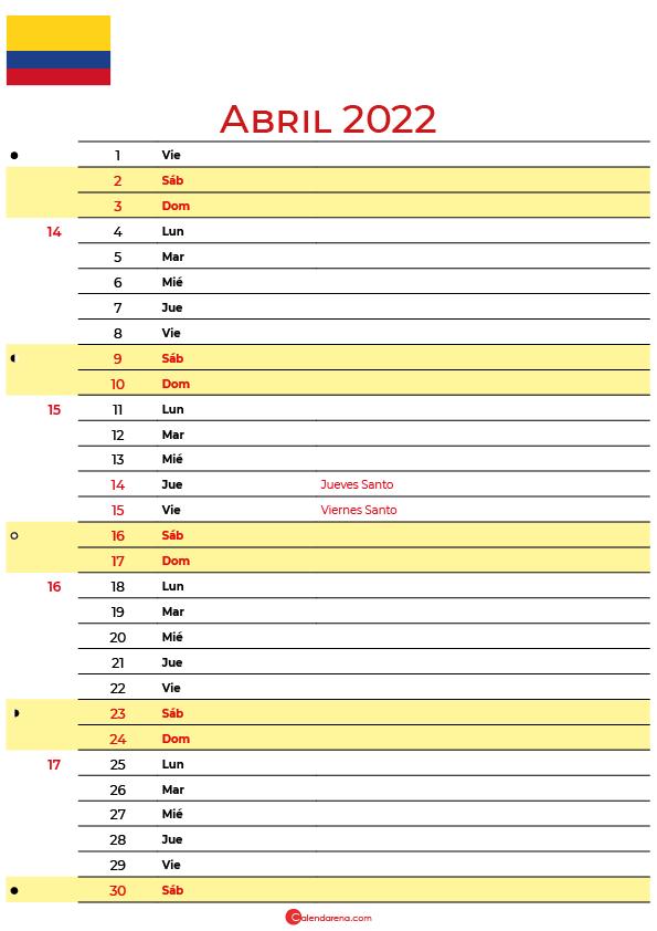 calendario abril 2022 para imprimir colombia