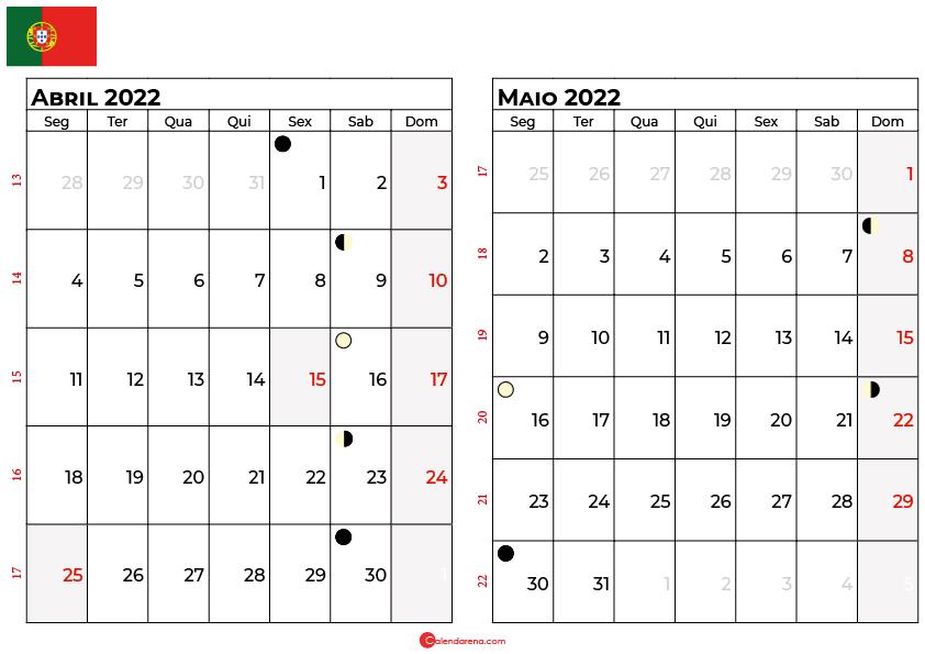 calendario abril e maio 2022 portugal