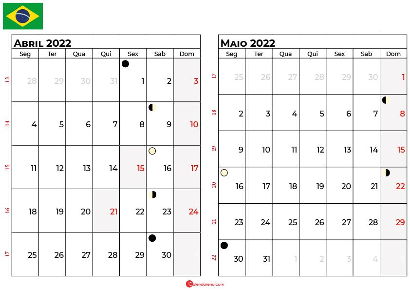 calendario abril e maio 2022