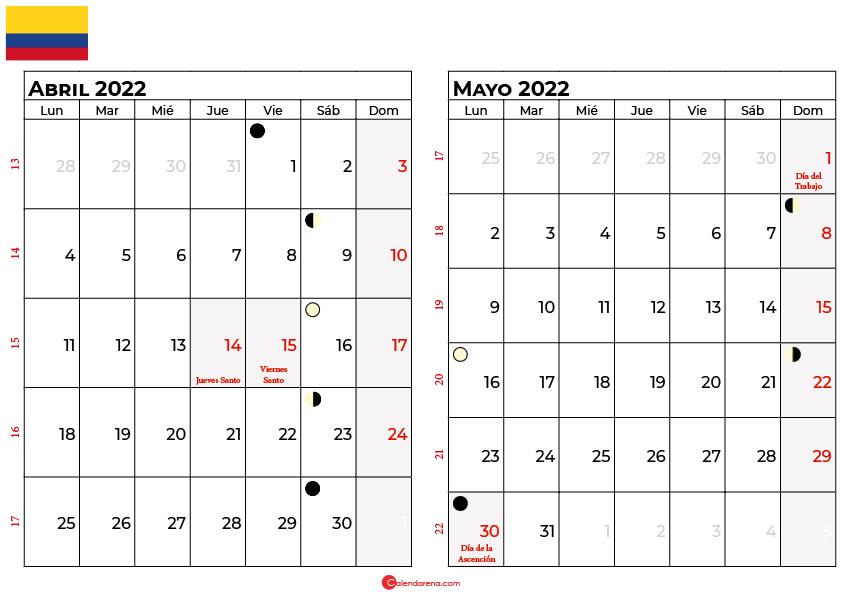 calendario abril y marzo 2022 colombia
