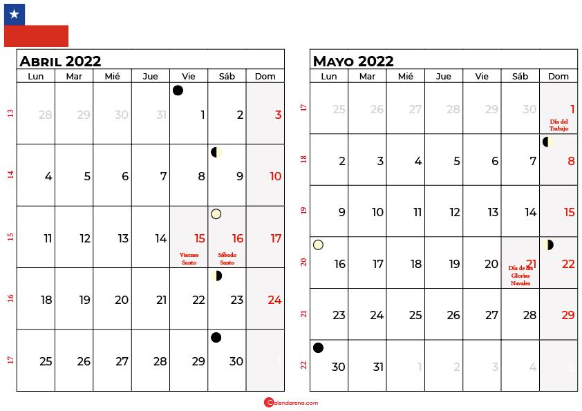 calendario abril y mayo 2022 Chile