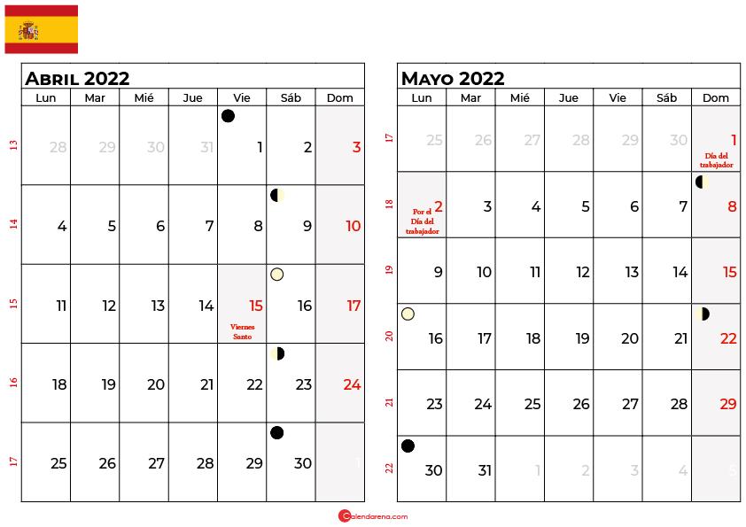 calendario abril y mayo 2022 España