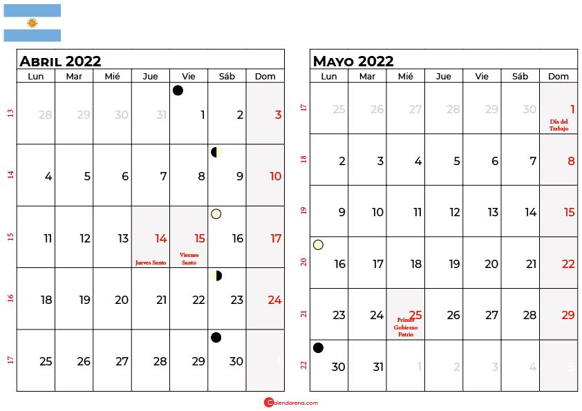 calendario abril y mayo 2022 argentina