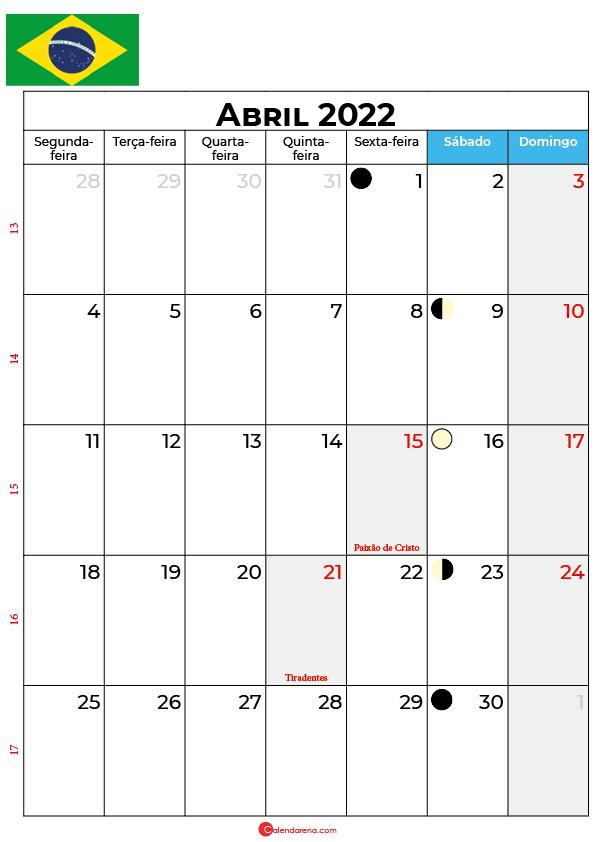 calendário de Abril de 2022 brasil