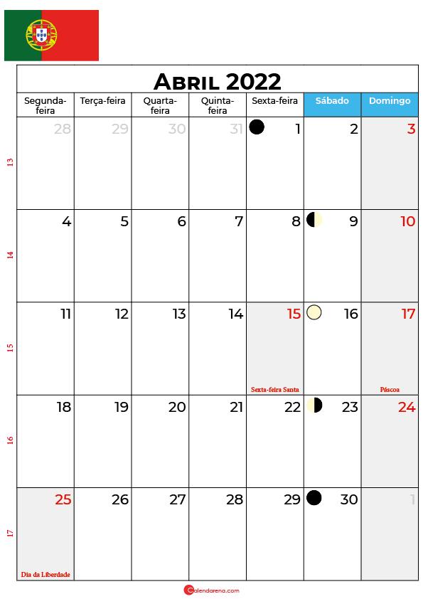 calendário de Abril de 2022 portugal