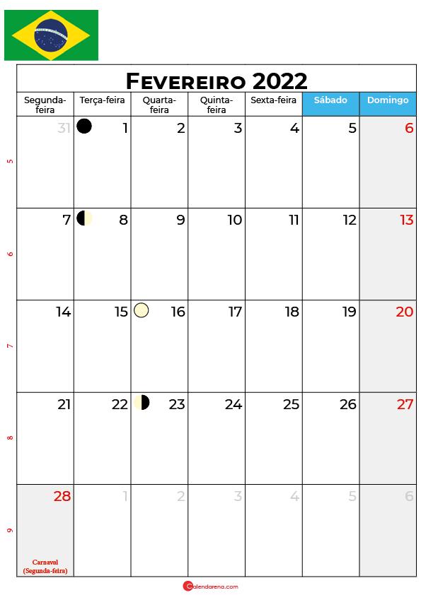 calendário de Fevereiro de 2022 brasil