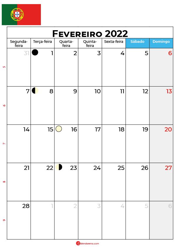 calendário de Fevereiro de 2022 portugal