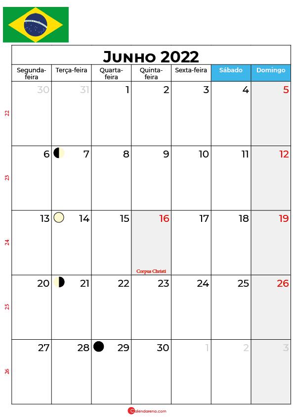 calendário de Junho de 2022 brasil