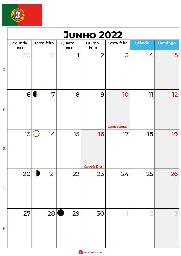 calendário de Junho de 2022 portugal