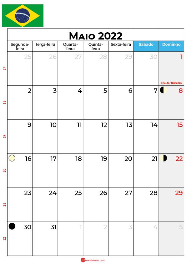 calendário de Maio de 2022 brasil