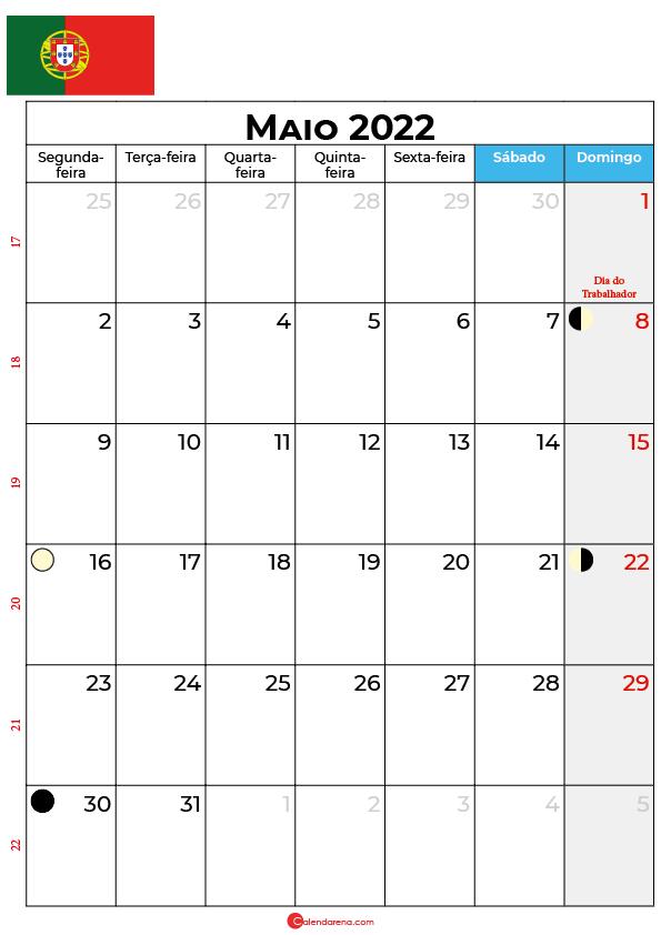 calendário de Maio de 2022 portugal