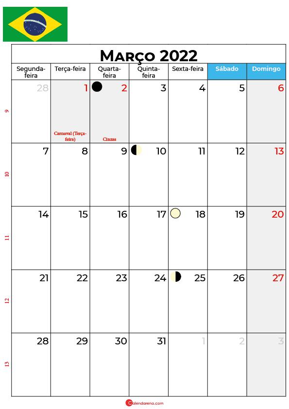 calendário de Março de 2022 brasil