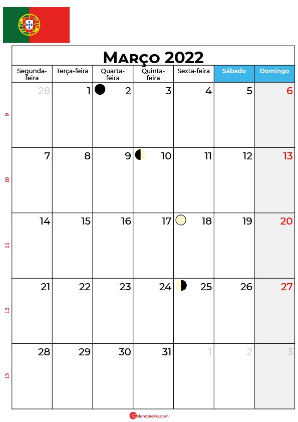 calendário de Março de 2022 portugal
