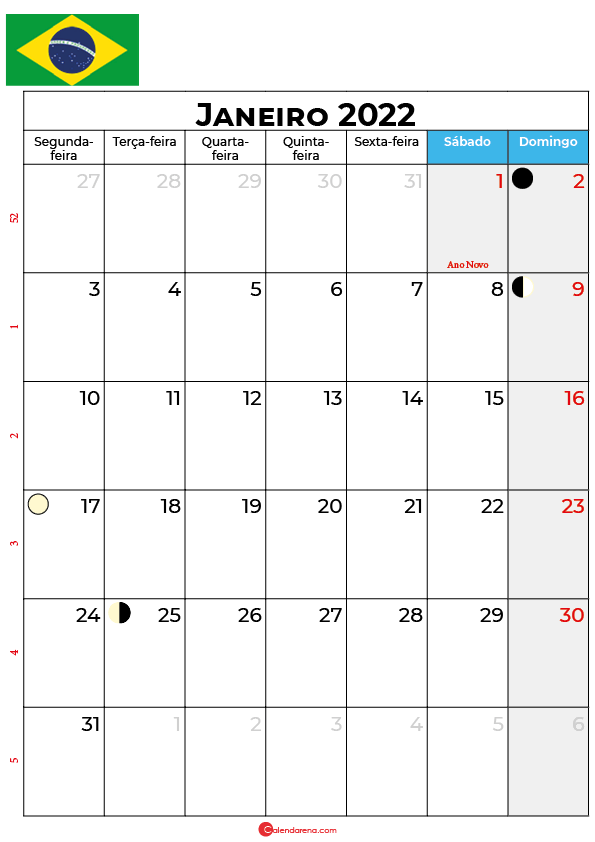 calendário de janeiro de 2022 brasil