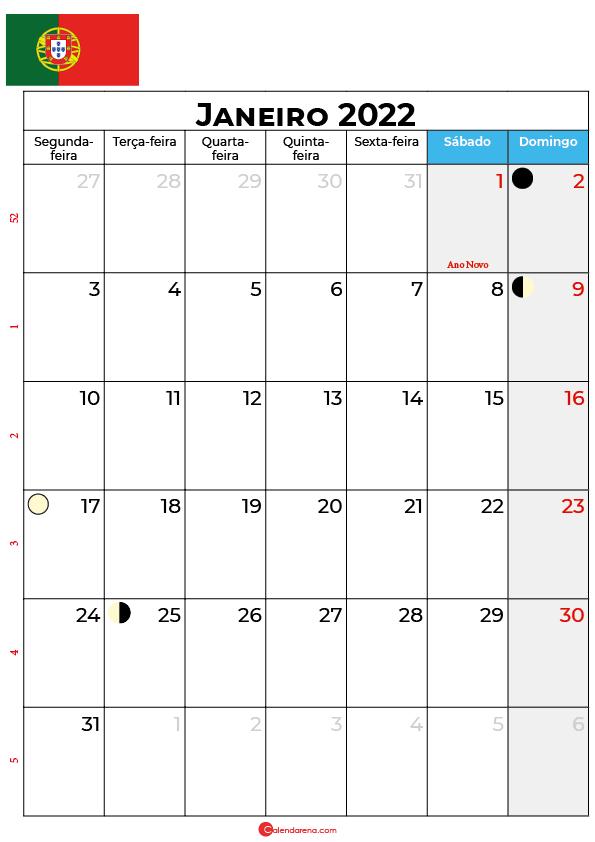 calendário de janeiro de 2022 portugal