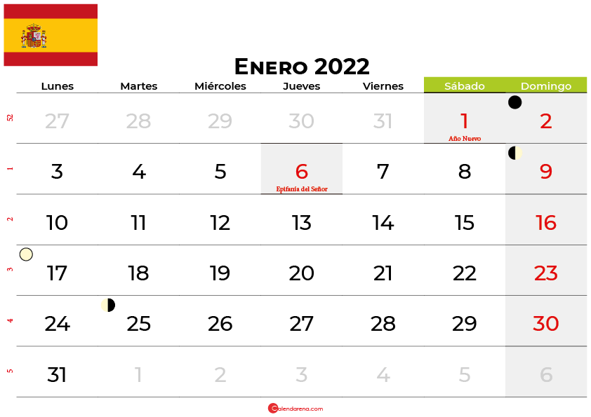 calendario enero 2022 España