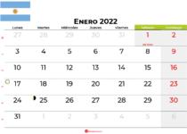 calendario enero 2022 argentina