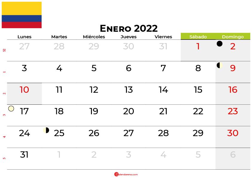 calendario enero 2022 colombia