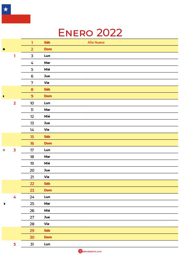 calendario enero 2022 para imprimir Chile