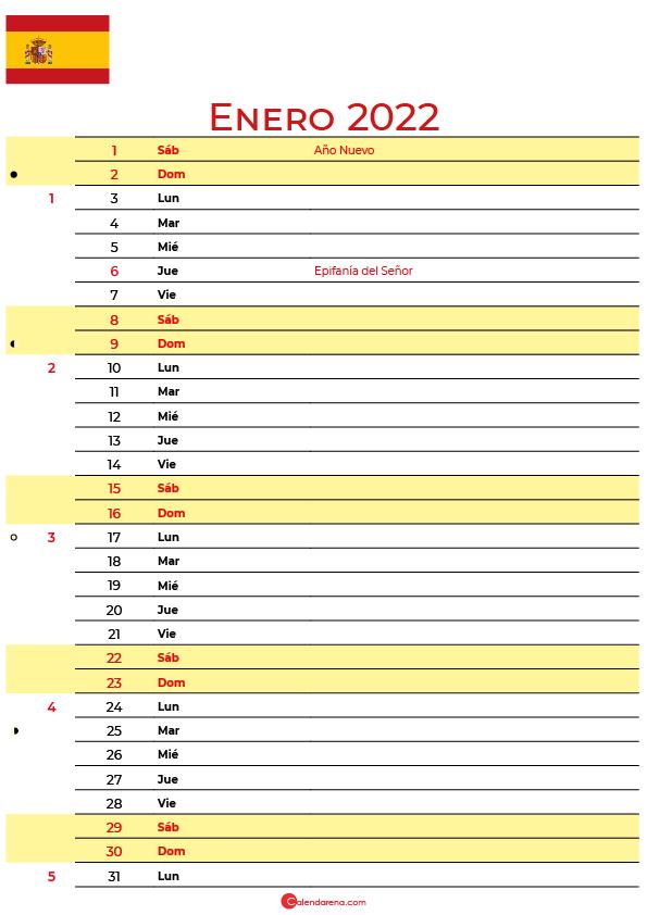 calendario enero 2022 para imprimir España