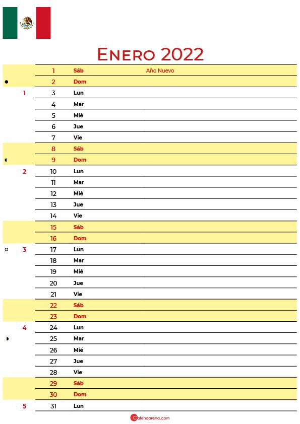 calendario enero 2022 para imprimir México