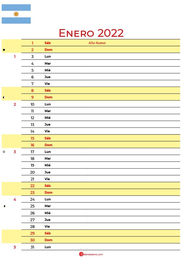calendario enero 2022 para imprimir argentina