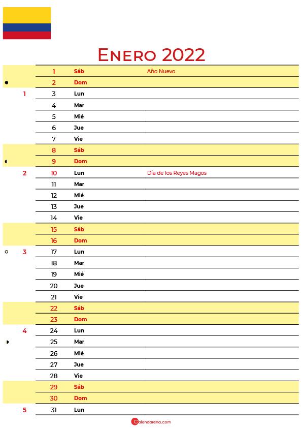calendario enero 2022 para imprimir colombia