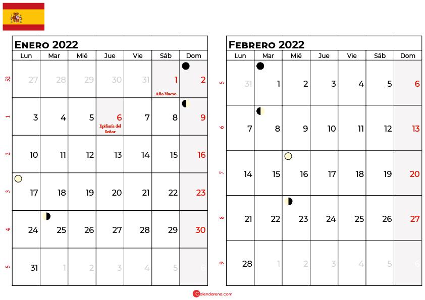 calendario enero y febrero 2022 España