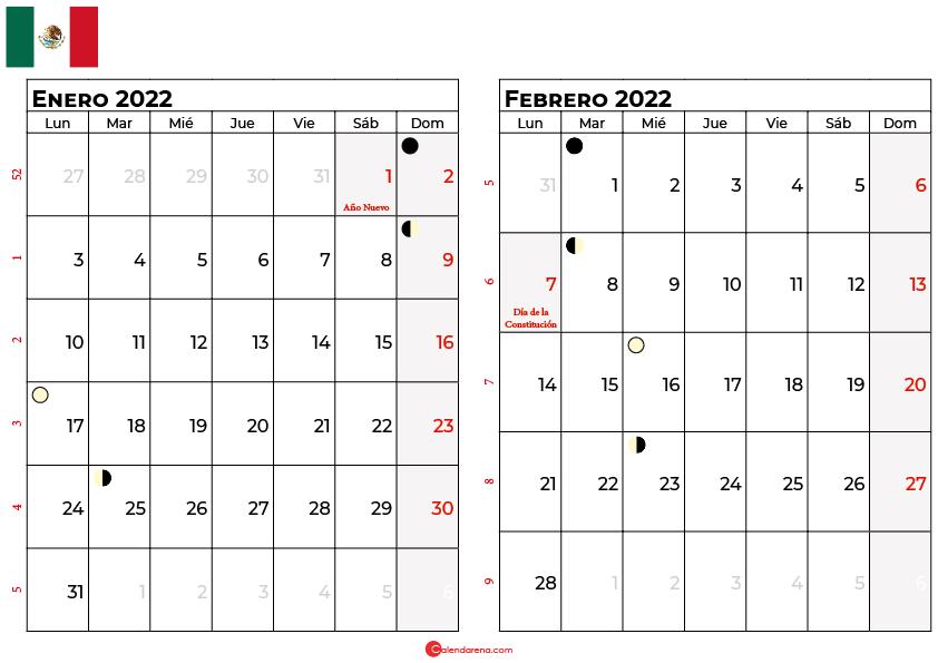 calendario enero y febrero 2022 México
