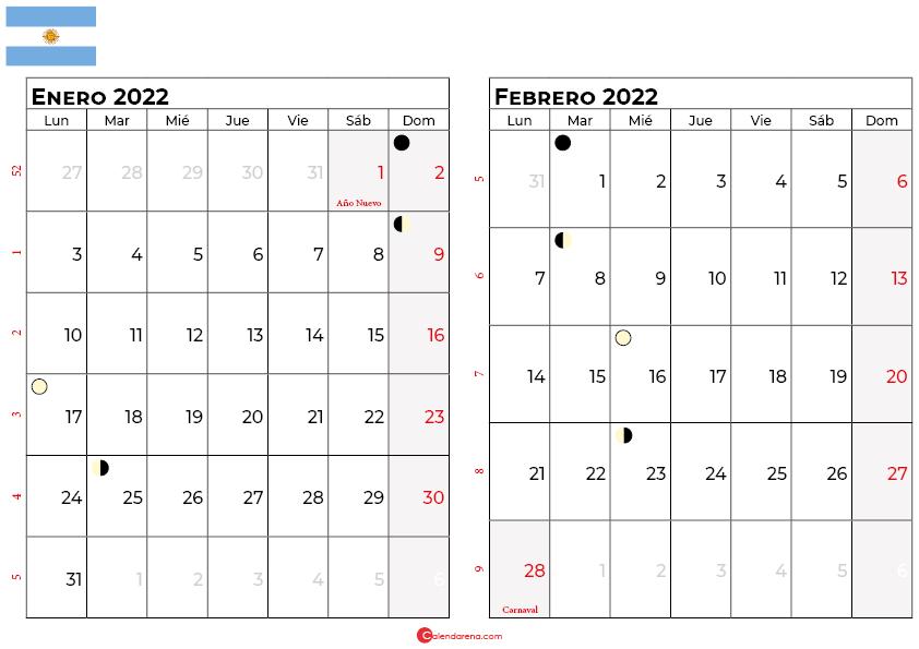 calendario enero y febrero 2022 argentina