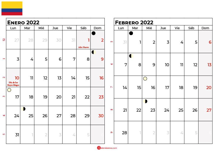 calendario enero y febrero 2022 colombia