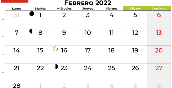 calendario febrero 2022 Chile