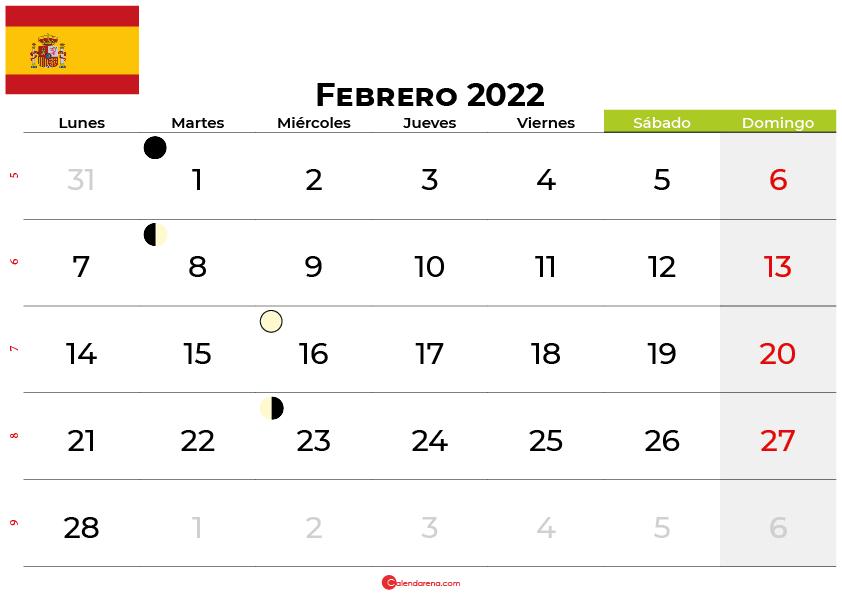 calendario febrero 2022 España