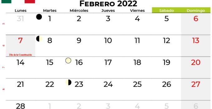 calendario febrero 2022 México
