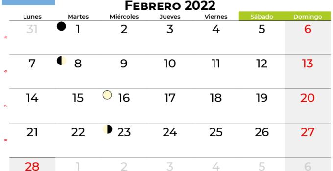 calendario febrero 2022 argentina
