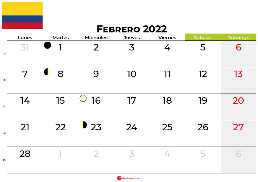calendario febrero 2022 colombia