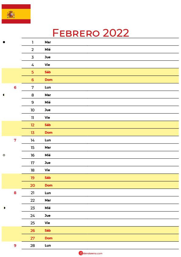 calendario febrero 2022 para imprimir España