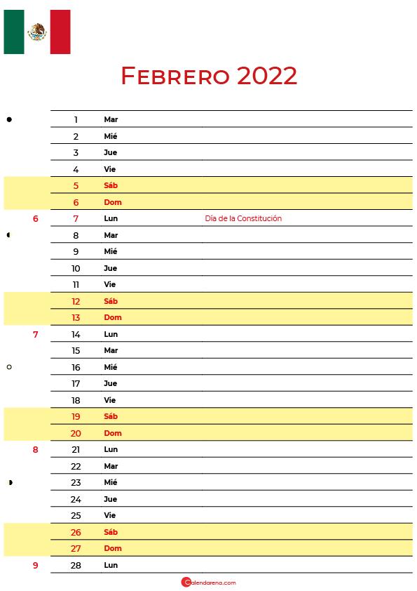 calendario febrero 2022 para imprimir México