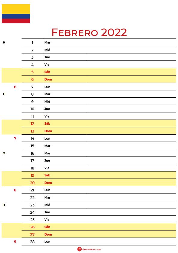 calendario febrero 2022 para imprimir colombia