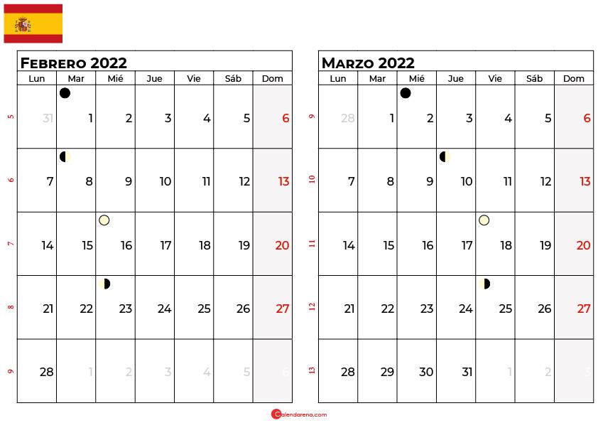 calendario febrero y marzo 2022 España