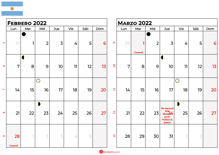 calendario febrero y marzo 2022 argentina