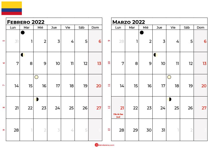 calendario febrero y marzo 2022 colombia