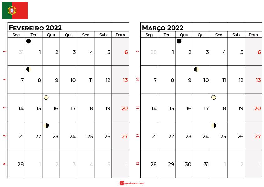 calendario fevereiro e Março 2022 portugal
